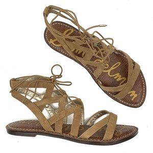 SAM EDELMAN Tan Suede Gladiator Sandals Size 9